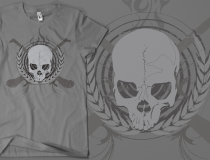 Skull & Crossed Hurleys - Grey on American Apparel Grey