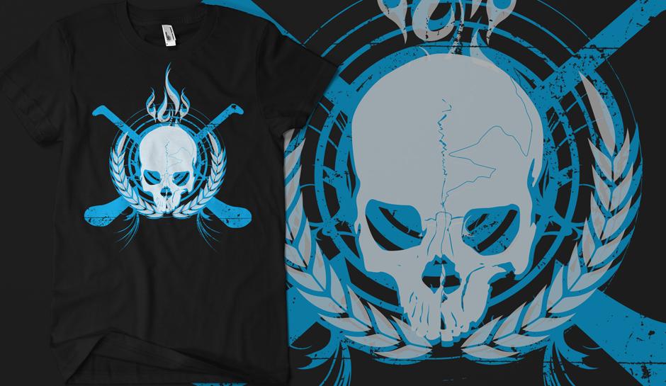 Skull & Crossed Hurleys - Electric Blue on Black
